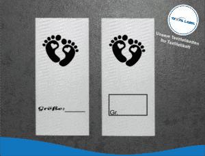 Größenetiketten mit Babyfüße Größenetikett Textiletiketten für Größenbeschriftung M019020