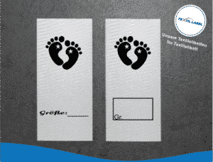 Größenetiketten mit Babyfüße Stern Individuelle Textiletiketten mit kinderfreundlichem Symbol und Platz für Größenbeschriftung M021022