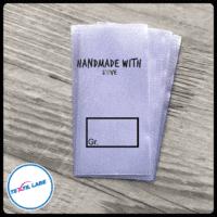 Textil-Label.de Handemade with Love 2 Größenetikett Textiletiketten Kasten