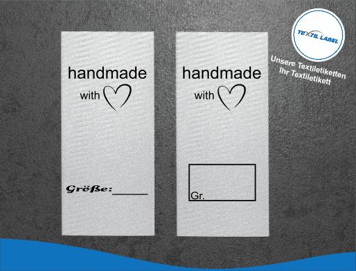 Textil-Label.de Handmade with Love Größenetikett Textiletiketten Textiletiketten für Größenbeschriftung M036037