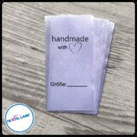 Textil-Label.de Handemade with Love 1 Größenetikett Textiletiketten Strich