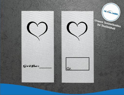 Textil-Label.de Handemade with Love Größenetikett Textiletiketten Übersicht