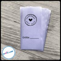 Textil-Label.de Handemade with Love Größenetikett Textiletiketten Strich