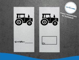 Traktor Größenetikett Textiletiketten für Größenbeschriftung M068M069