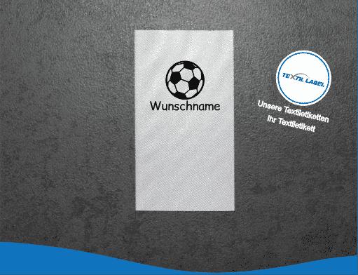 Textiletiketten mit Fußball Motiv