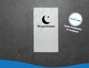 W025 Namensetiketten Wunschname Mond Namensetiketten