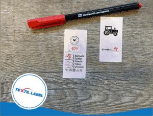 Textilstift für Textiletiketten rot Markierstift
