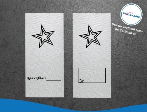 Textiletiketten mit Stern zur Größenbeschriftung