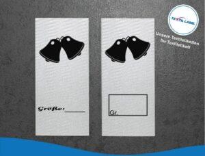 Glocken Größenetikett Textiletiketten für Größenbeschriftung