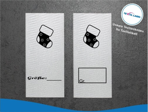 Textiletiketten mit Socken Größenetikett Textiletiketten für Größenbeschriftung