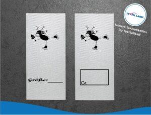 Wichtelfamilie Rentier auf Schlittschuhe Größenetikett Textiletiketten für Größenbeschriftung