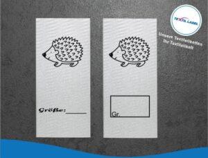 Igel Größenetikett Textiletiketten für Größenbeschriftung