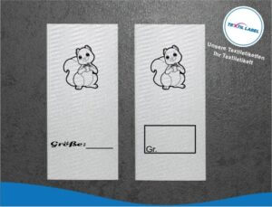 Eichhörnchen Größenetikett Textiletiketten für Größenbeschriftung