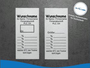 Gewerbe Textiletikett Universal mit Wunschname Pflegesymbole in Textform GT001GT002