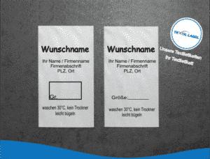 Gewerbe Textiletikett ohne Materialzusammensetzung mit Wunschname Pflegesymbole in Textform GT007GT008